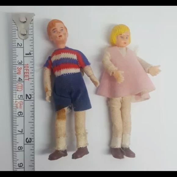 Old Dollhouse Dolls vintage Childrens Toys Plastic